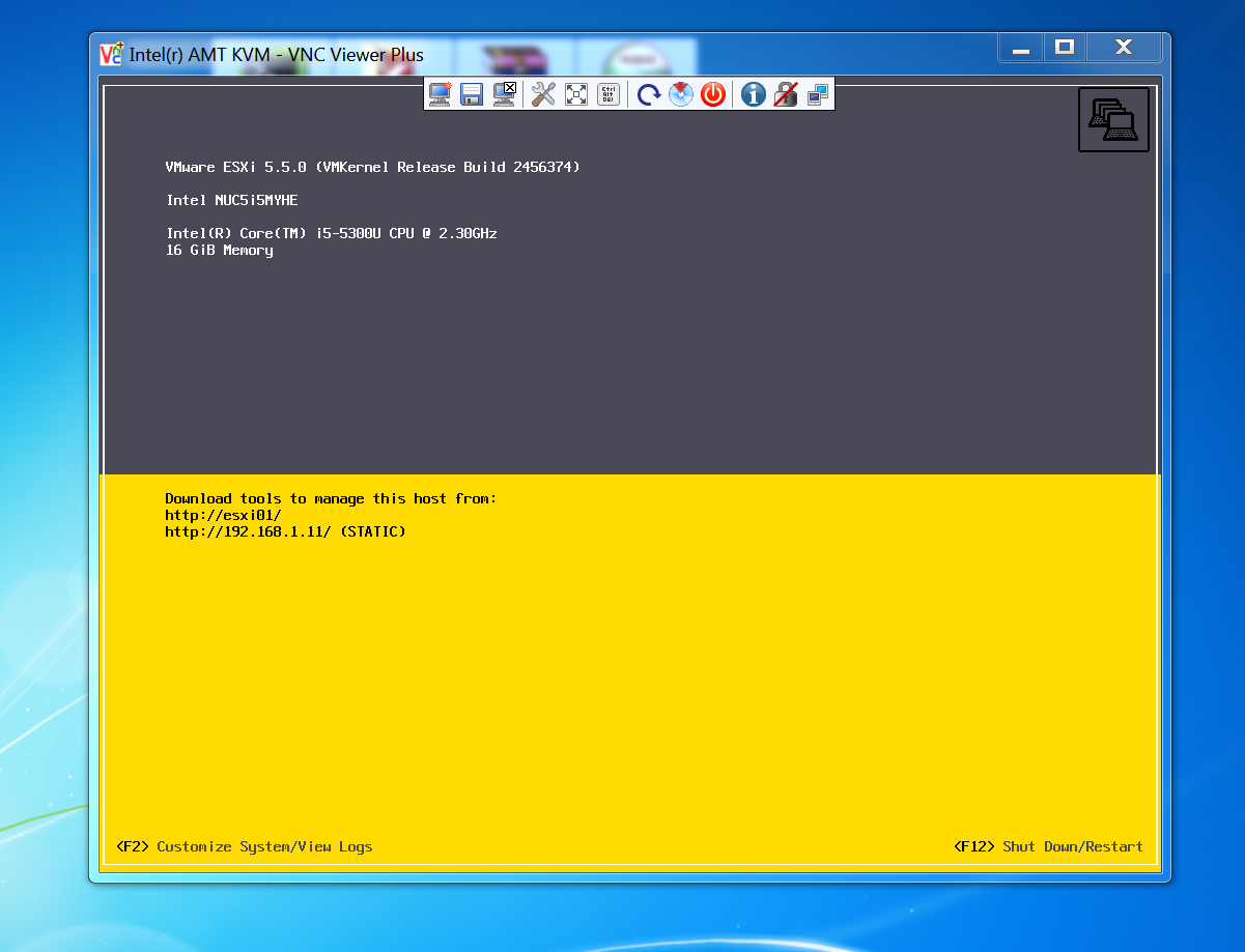 Running the Intel NUC headless with VMware ESXi
